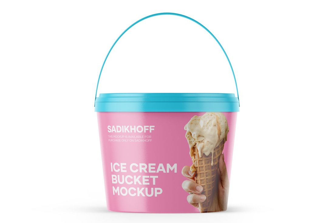 matte ice cream bucket mockup