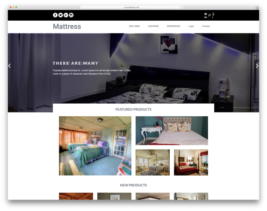 mattress free bootstrap ecommerce website template