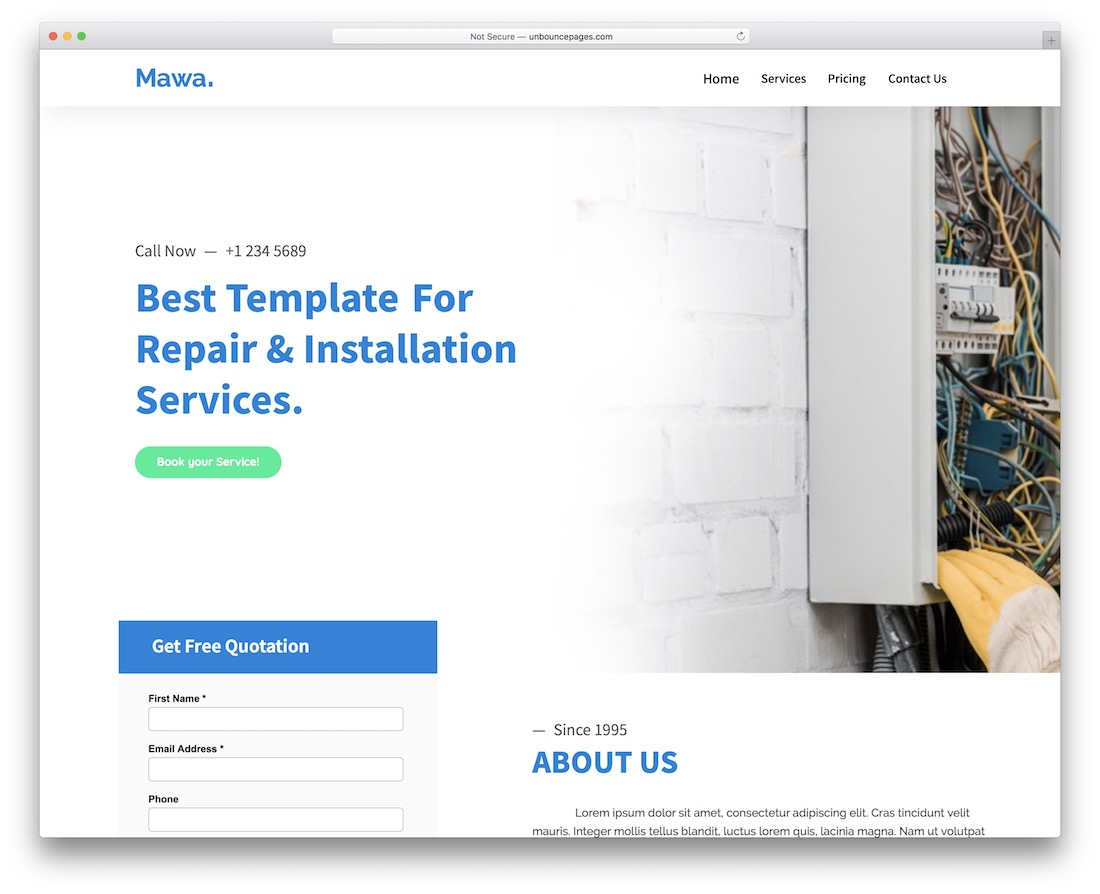 mawa unbounce landing page template