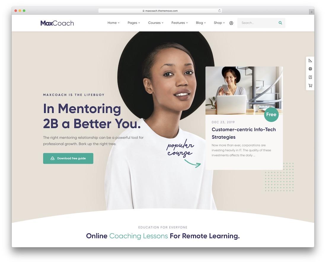 maxcoach lms wordpress theme