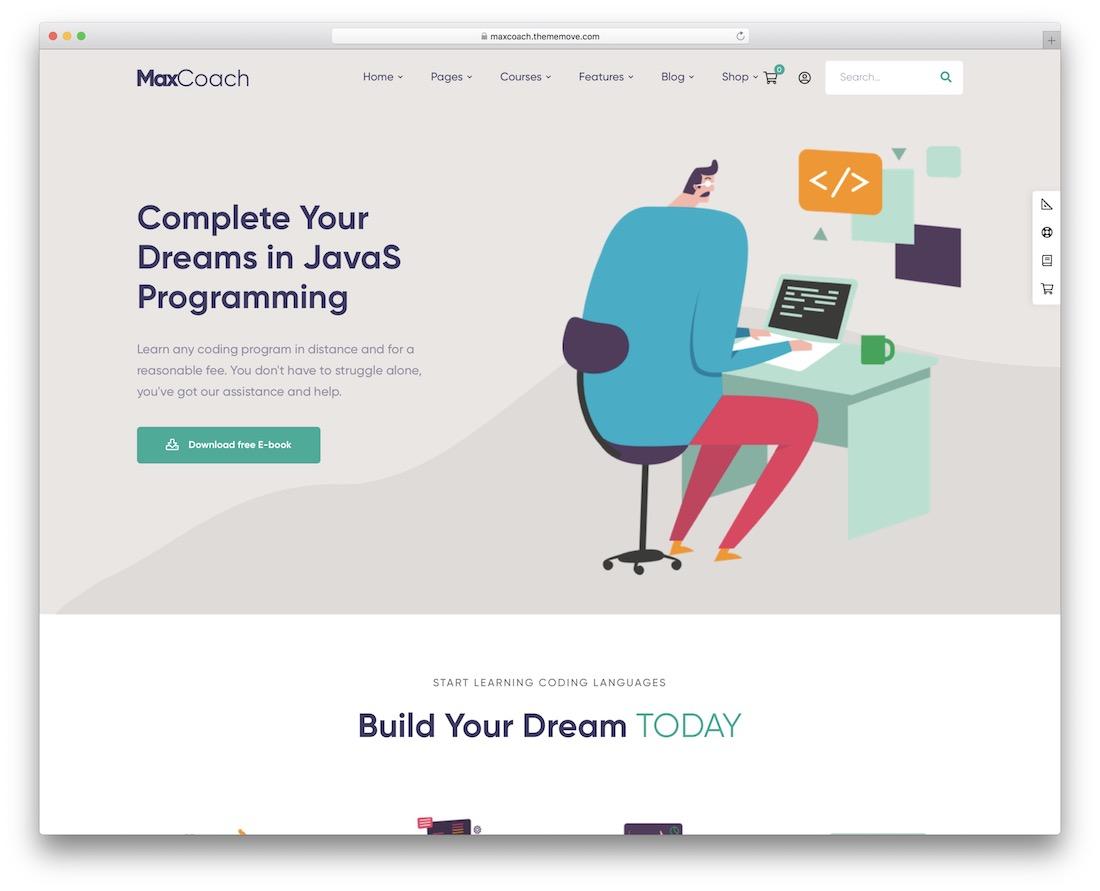 maxcoach online course wordpress theme