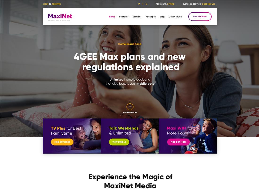 MaxiNet - Broadband & Telecom WordPress Theme