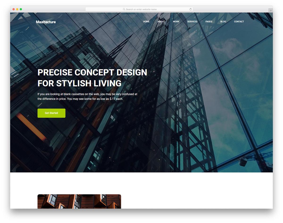 Скачать бесплатно html шаблон Maxitechture