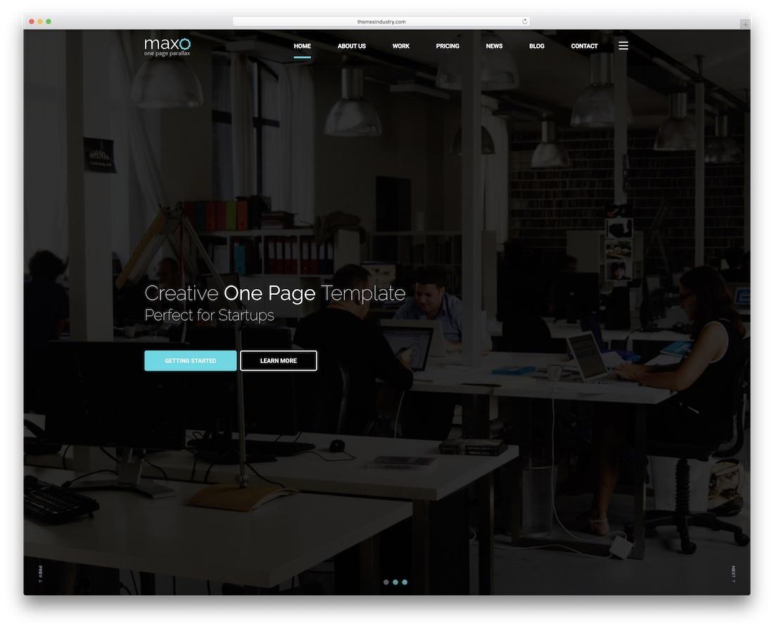 maxo parallax bootstrap business website template