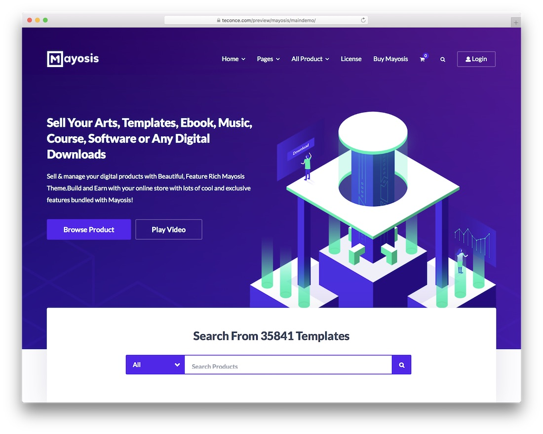 mayosis wordpress theme selling digital products