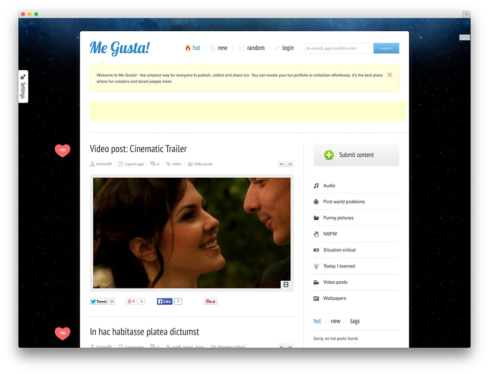 me gusta - viral content sharing theme
