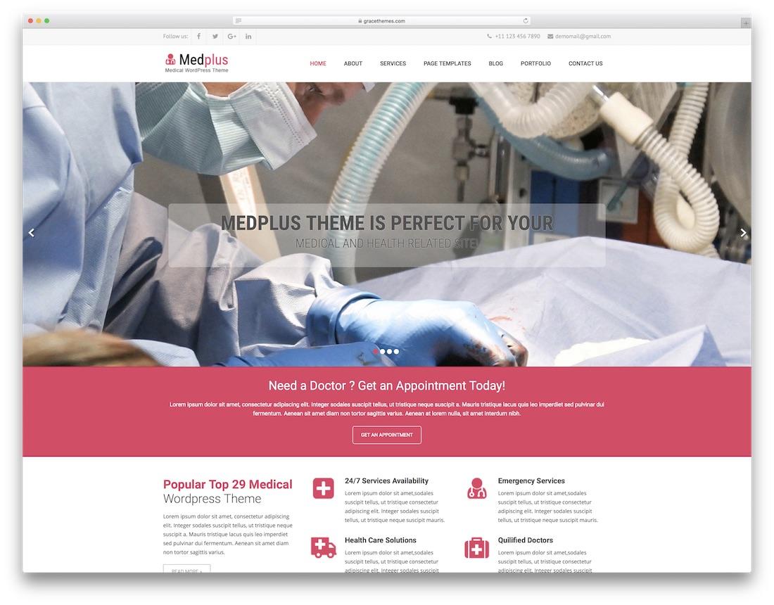 med plus free medical wordpress theme