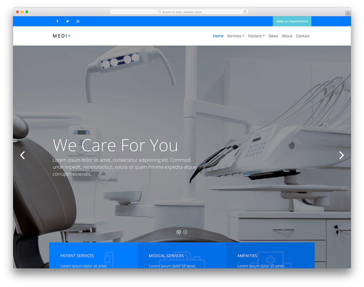 Скачать бесплатно html шаблон Medi+