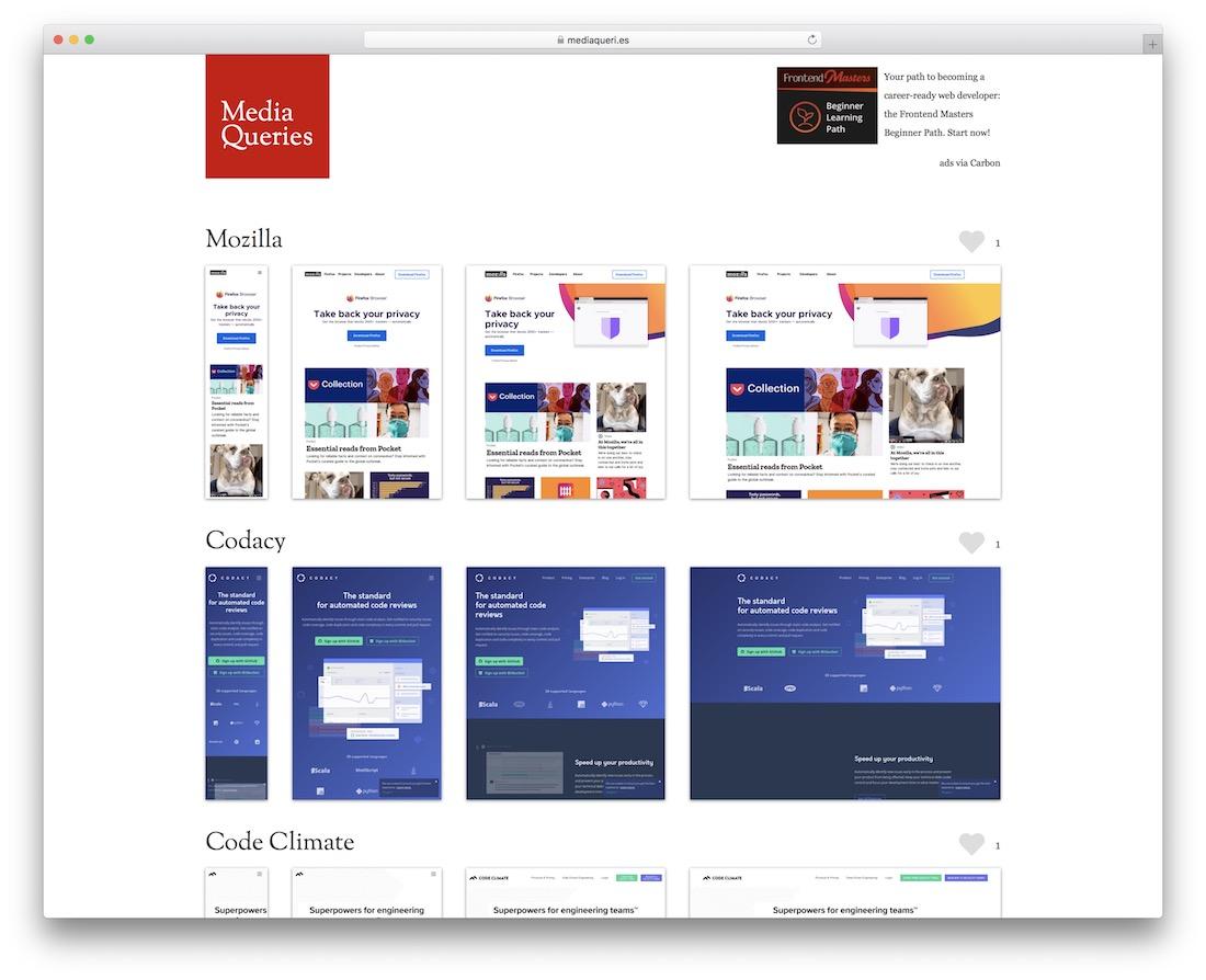 media queries showcase inspiration site web design