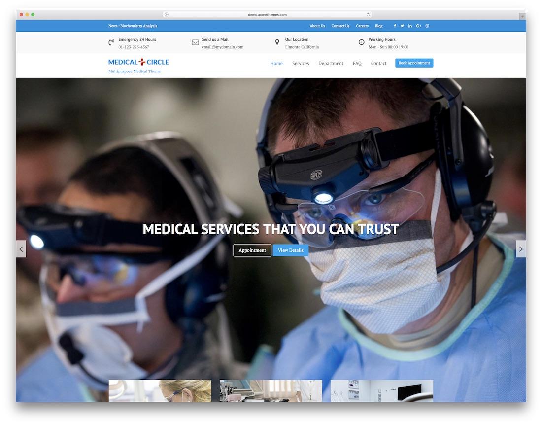 medical circle free website template