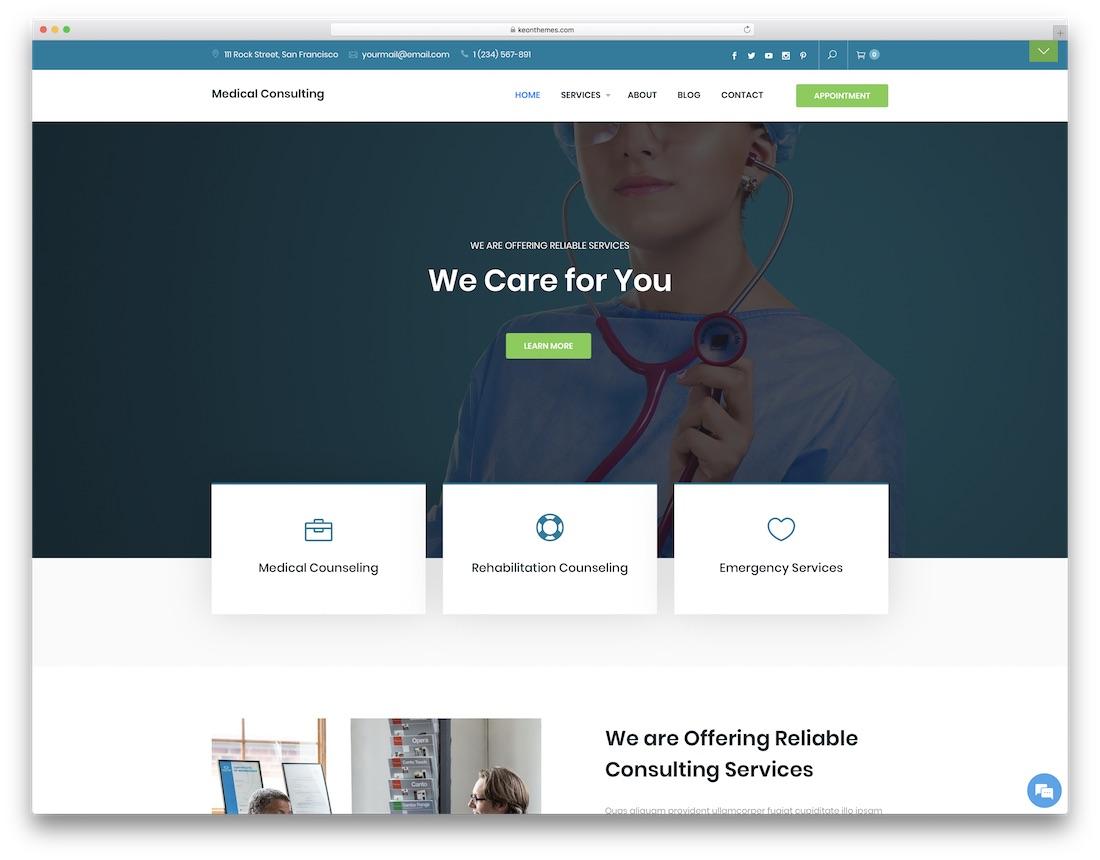 medical consulting free wordpress theme