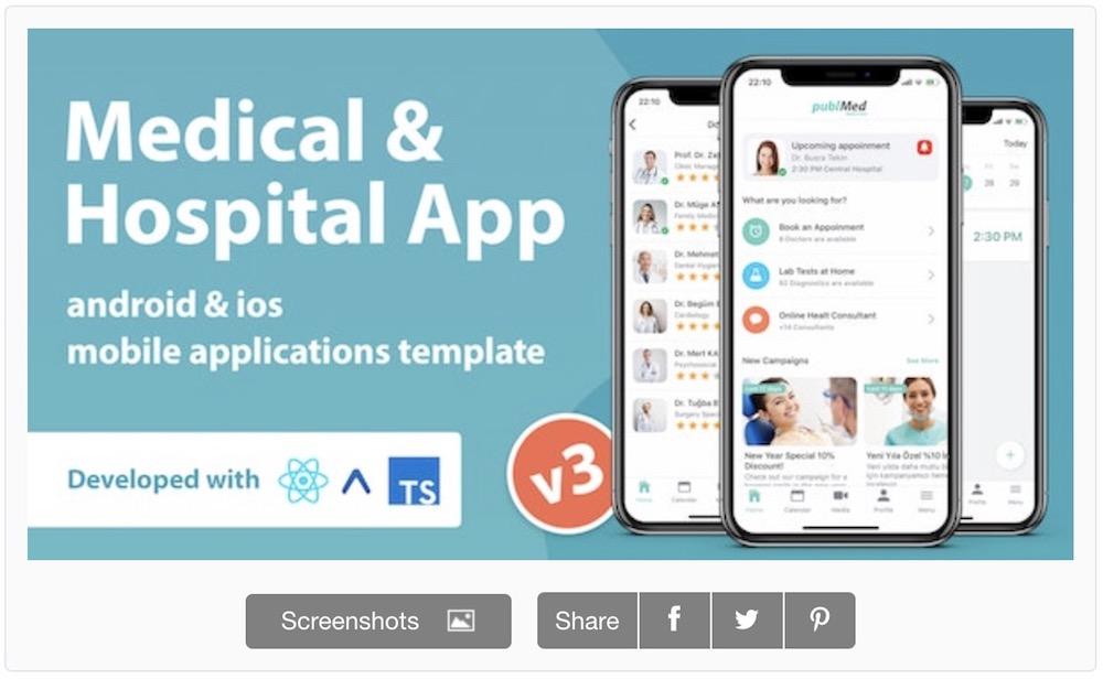 medical hospital mobile app react native template
