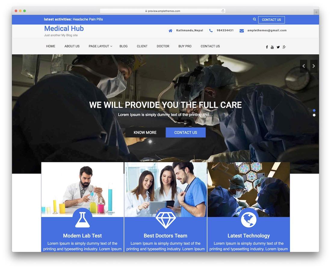 medical-hub free wordpress theme