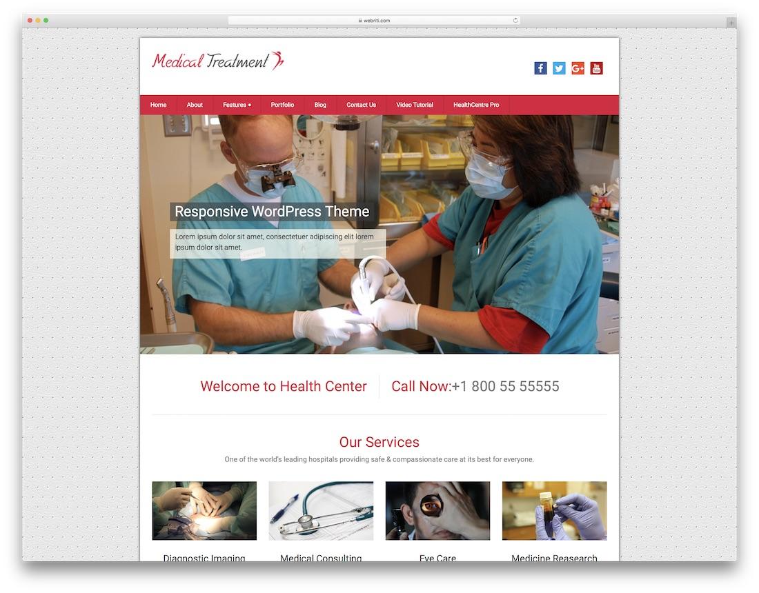 medical treatment free medical wordpress theme