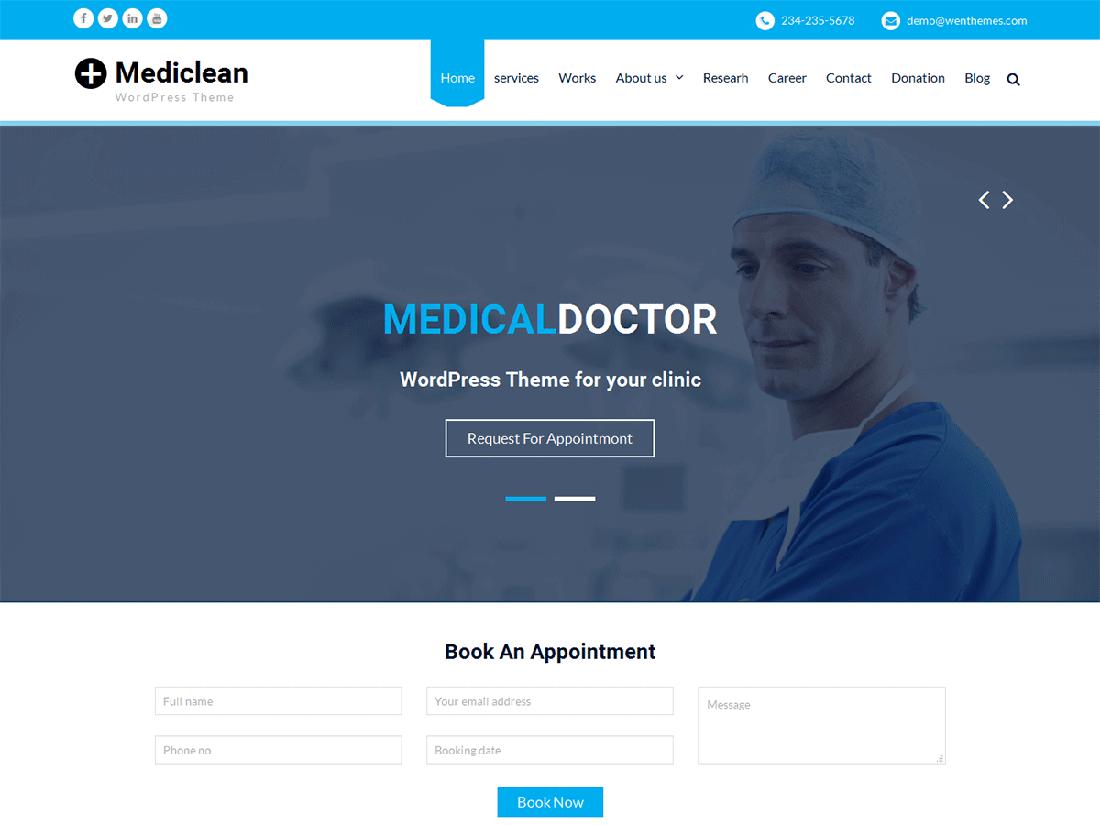 Mediclean Medical WordPress Theme