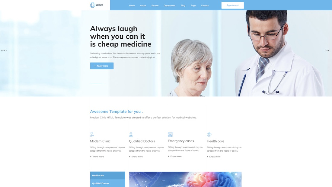 medico html website template