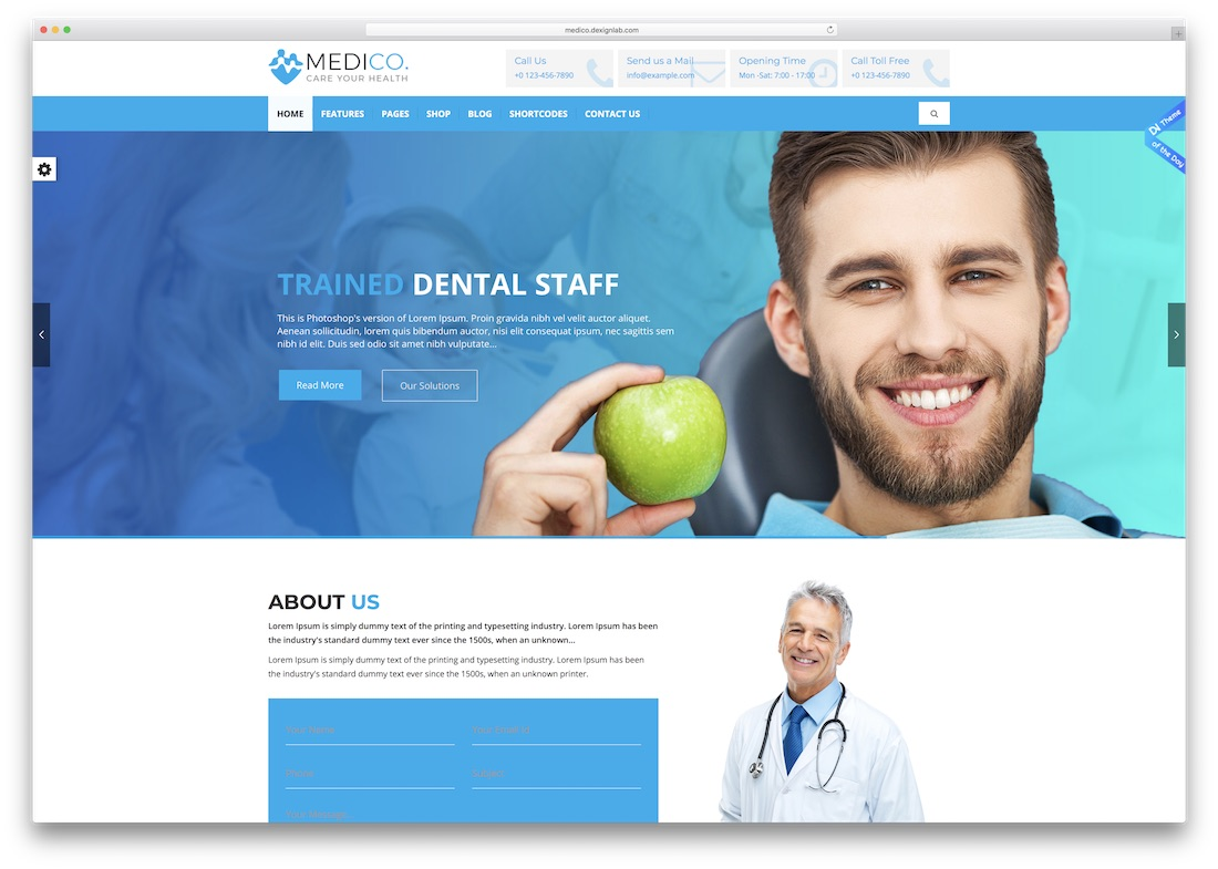 medico medical website template