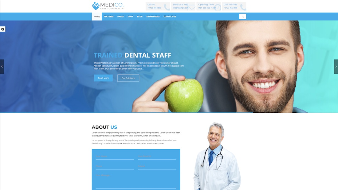medico website template