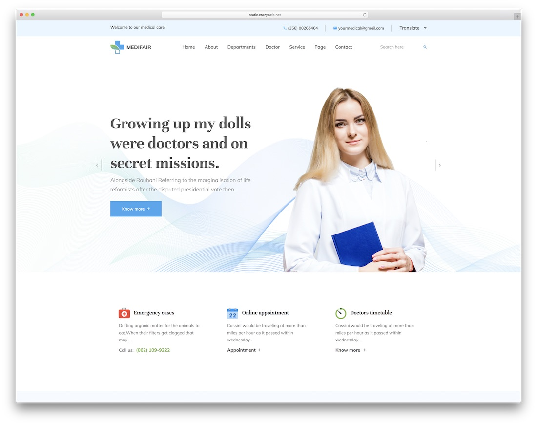 medifair doctor website template