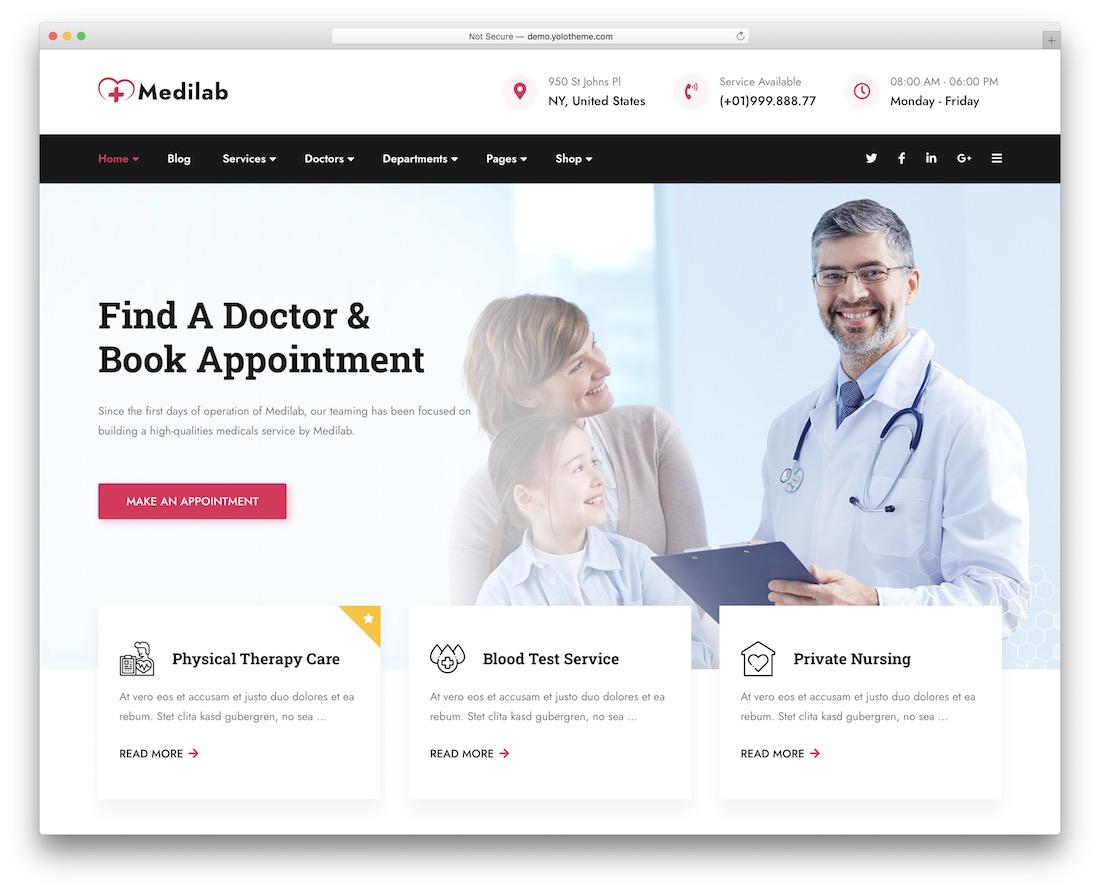 medilab medical wordpress theme