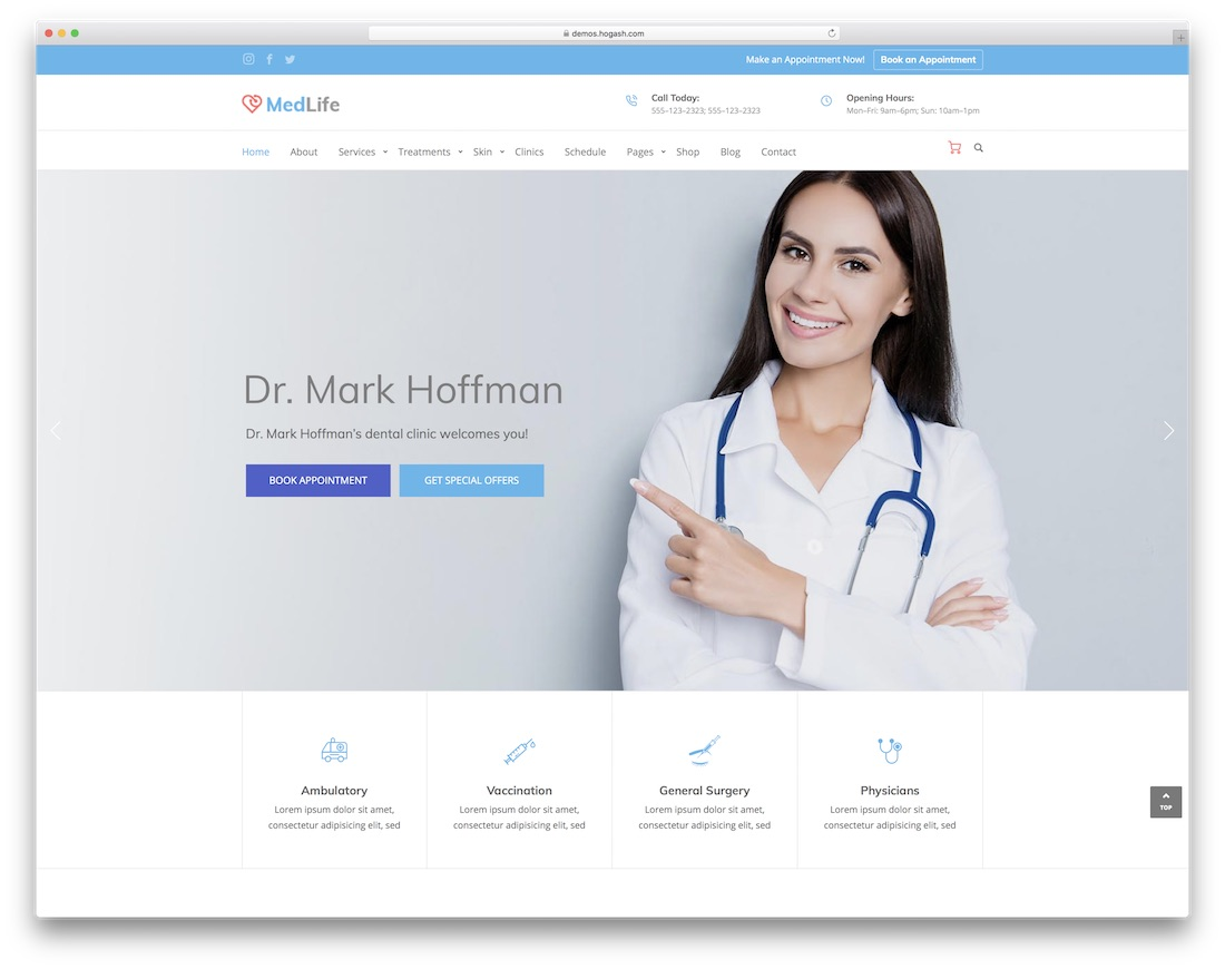 medilife doctor website template