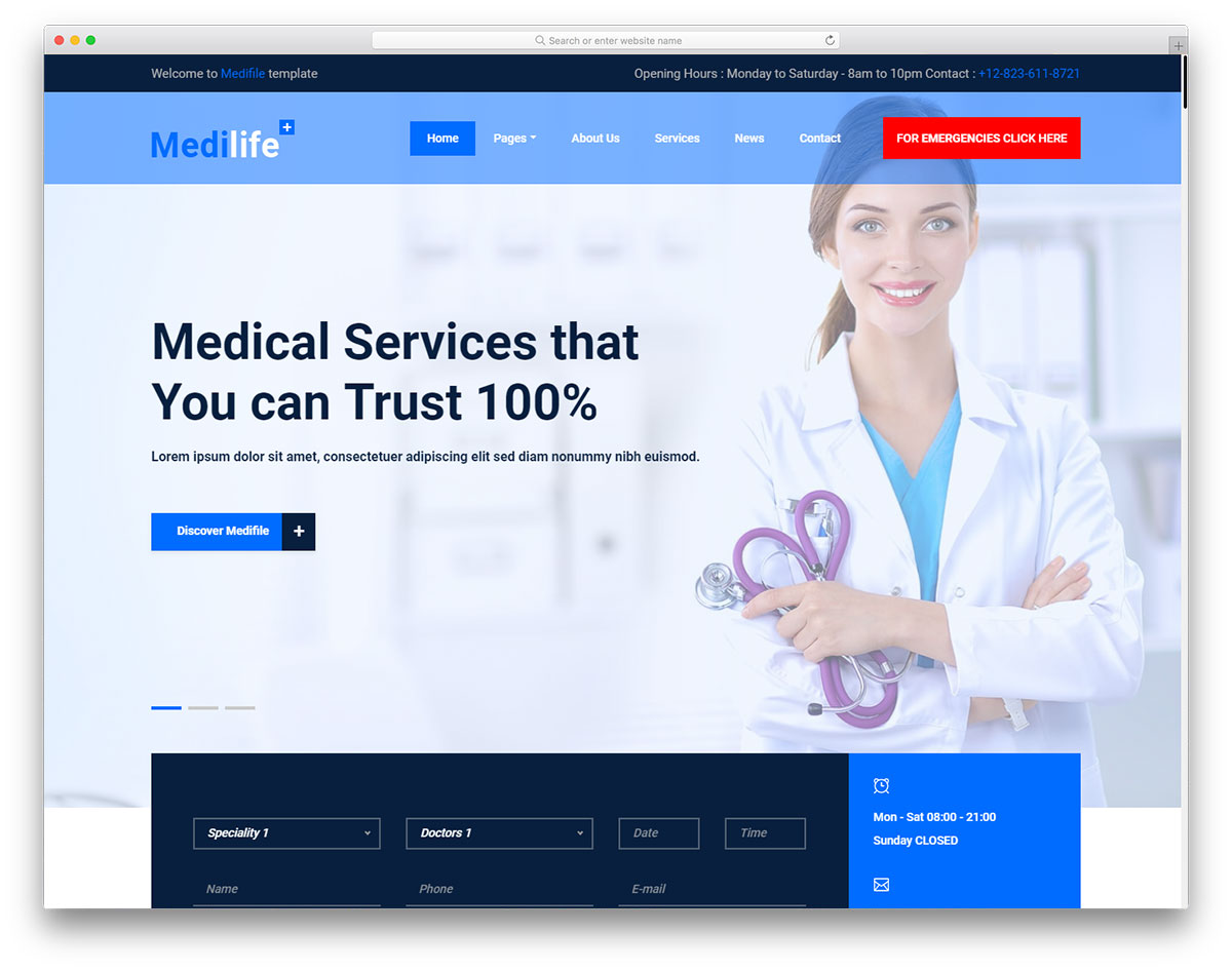 Medilife free template