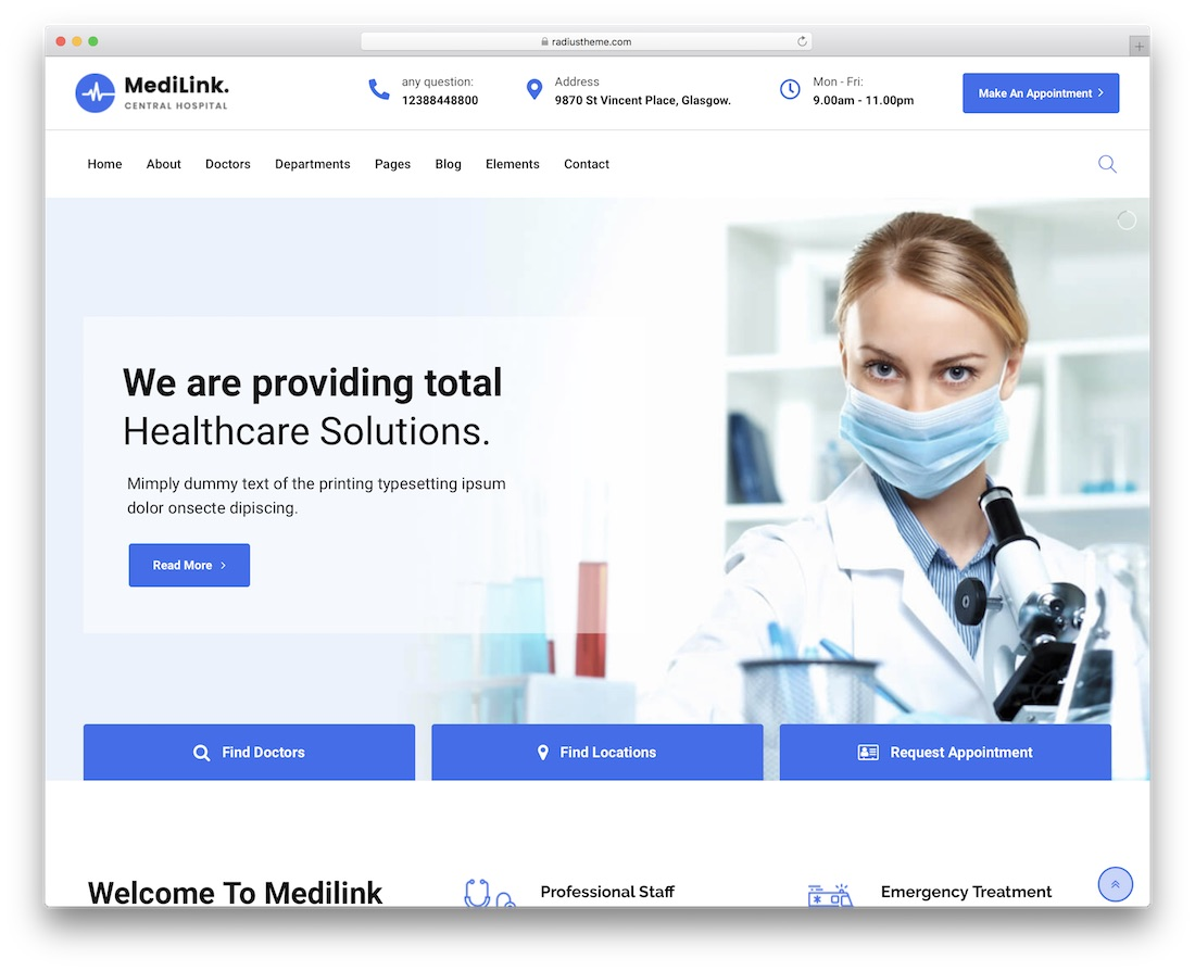 medilink health medical wordpress theme