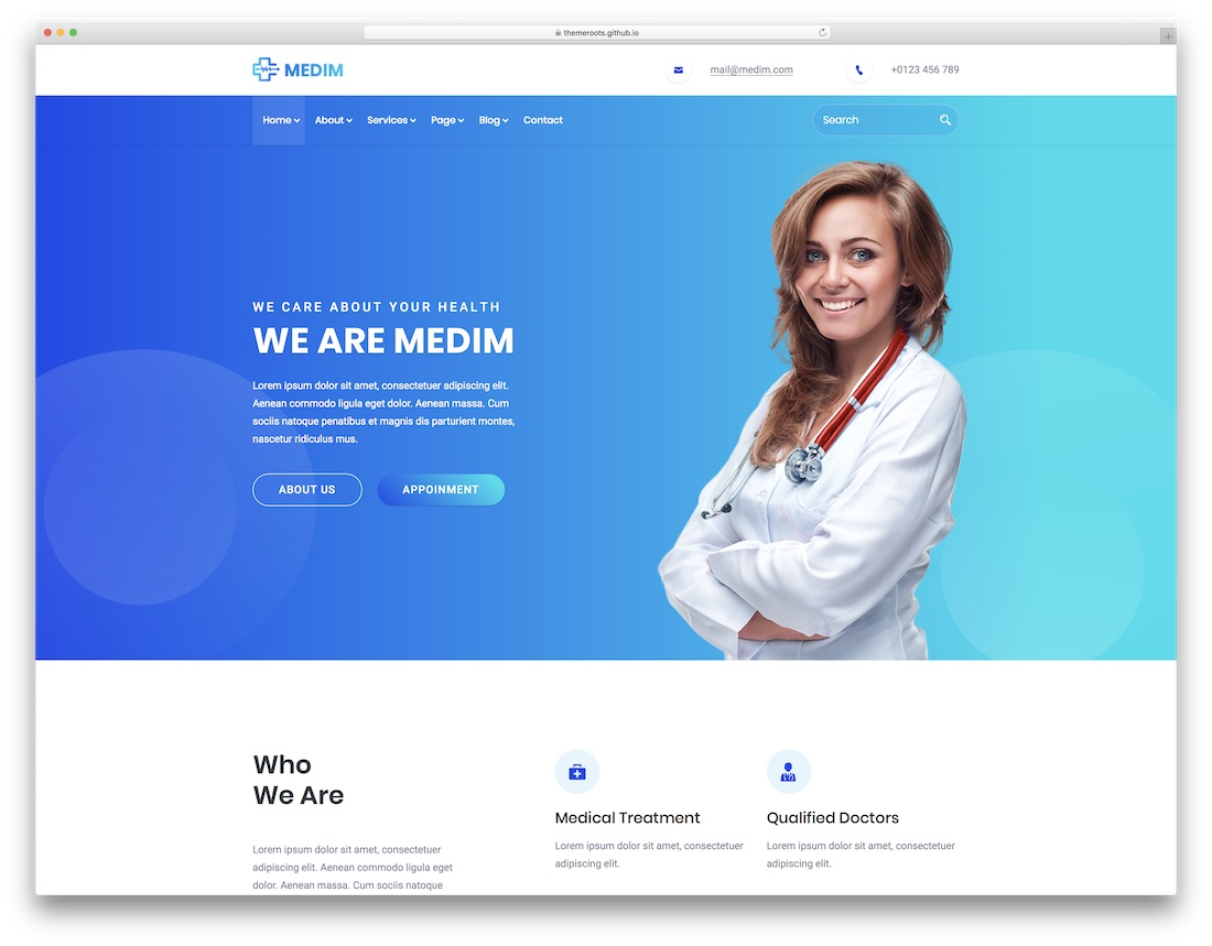 medim doctor website template