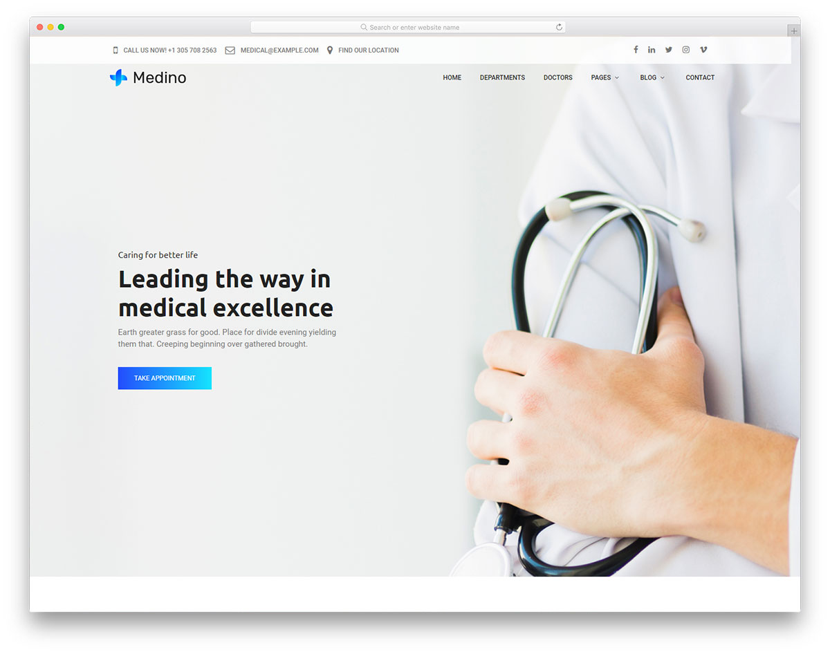 Medino - Free Medicine Website Template 2019