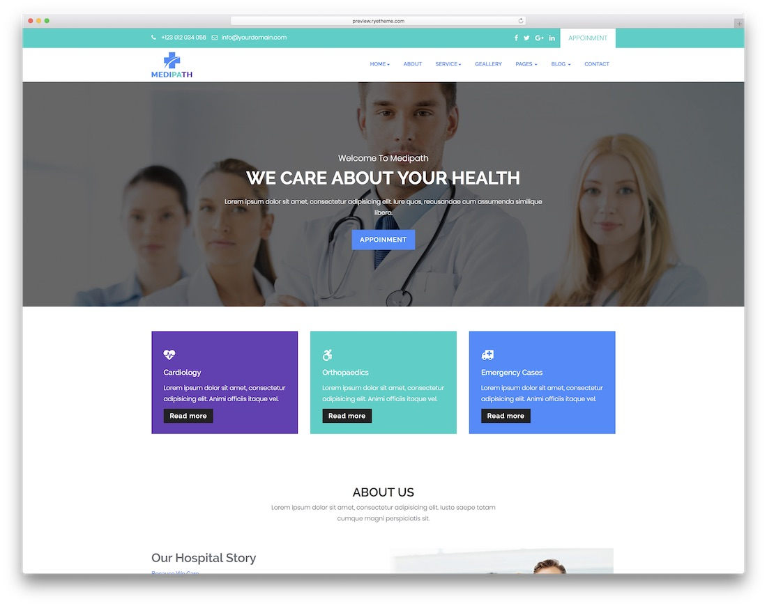 medipath doctor website template