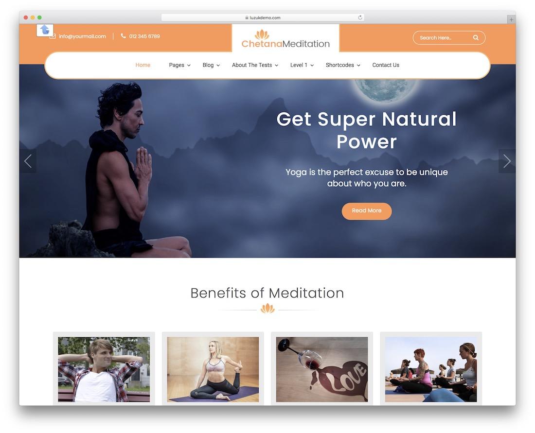 meditation and yoga free wordpress video theme