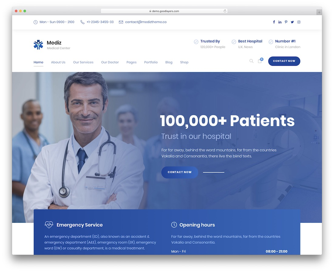 mediz health medical wordpress theme