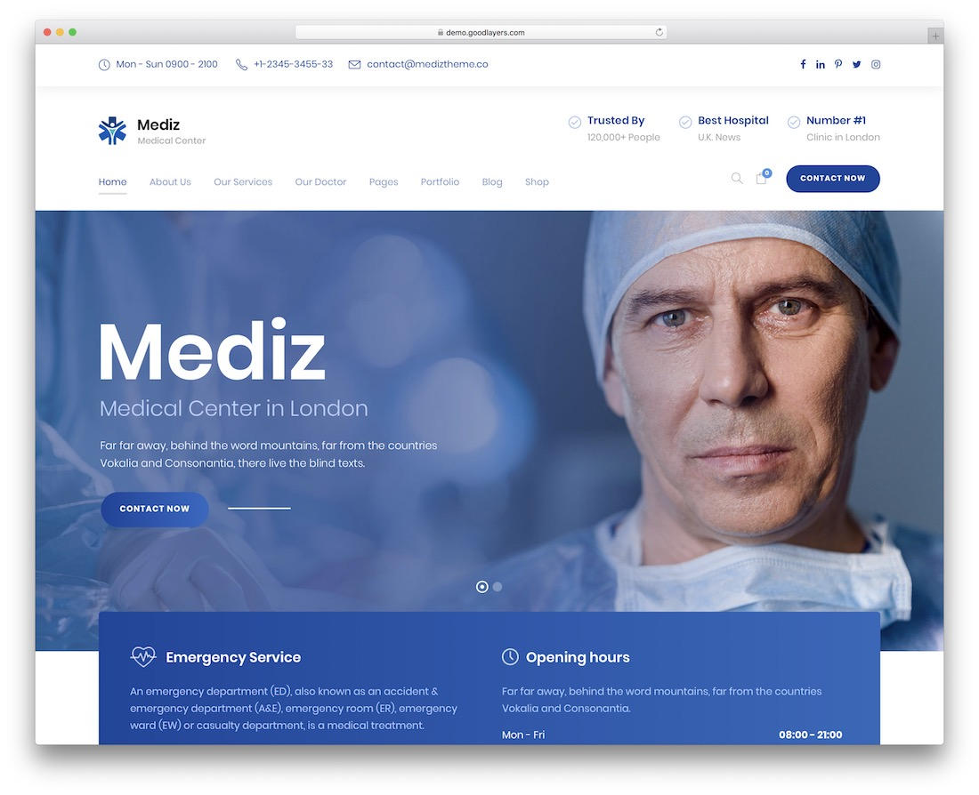 mediz medical website template