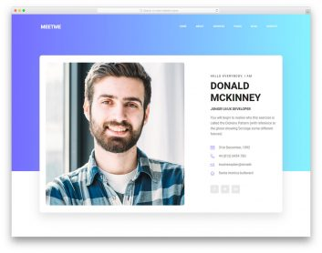 Meetme - Personal Website Template
