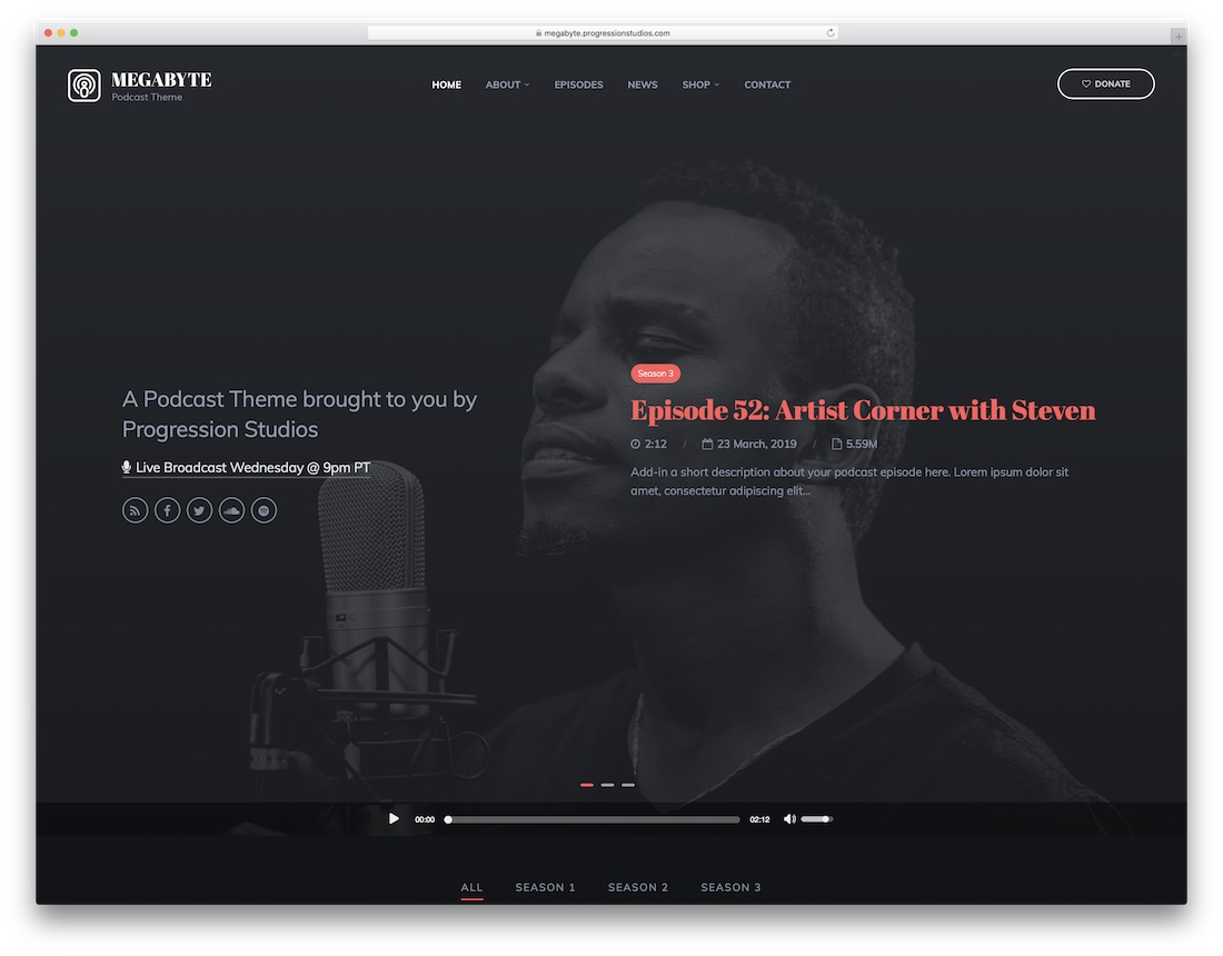 megabyte wordpress podcasting theme