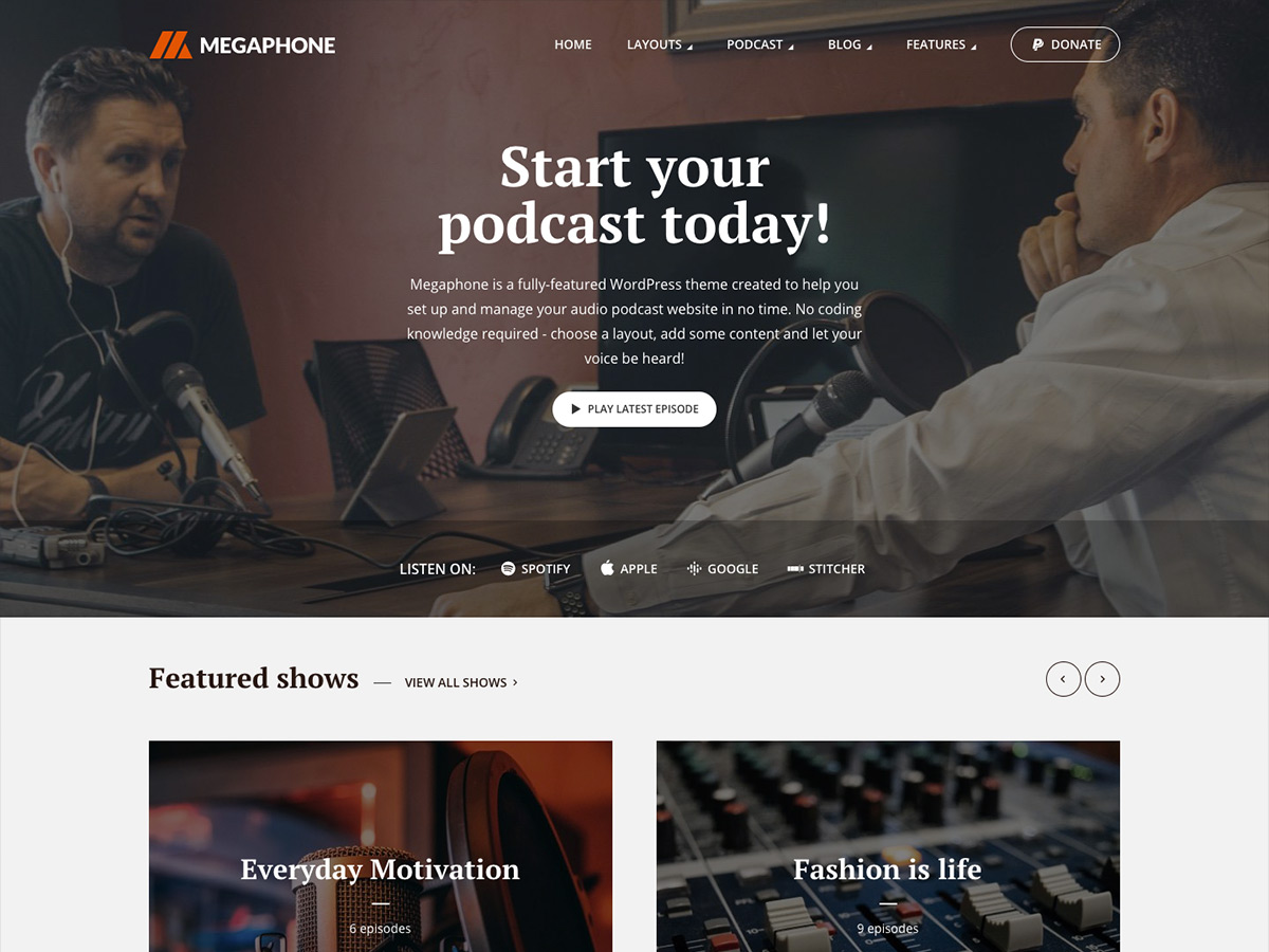 Megaphone - podcast WordPress theme