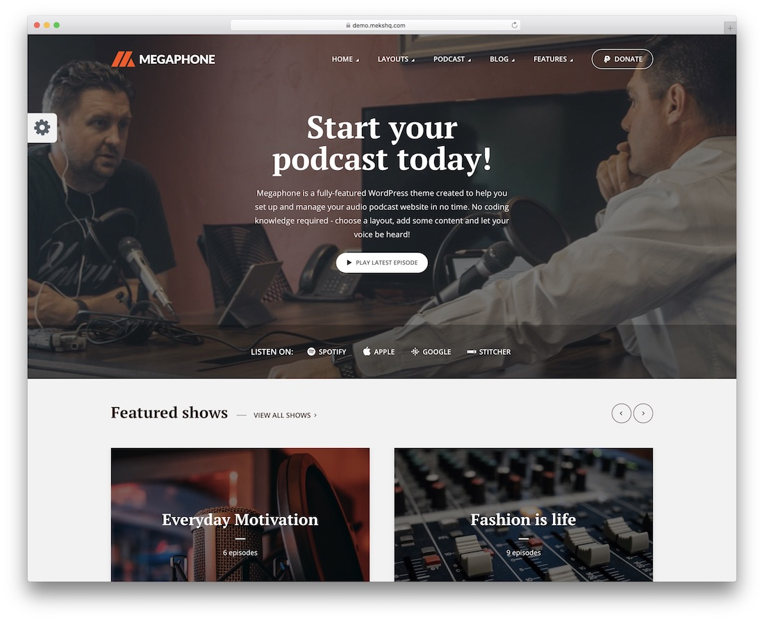 megaphone wordpress radio station theme