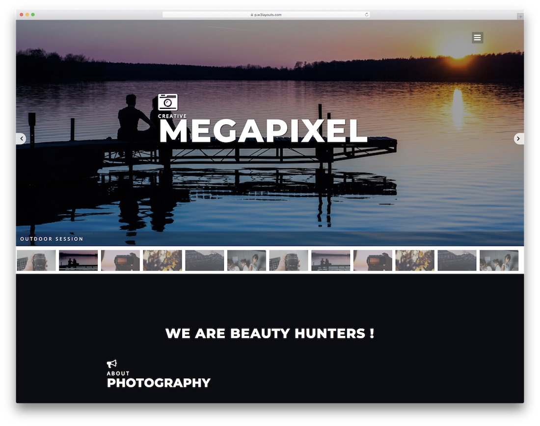 megapixel free bootstrap gallery template
