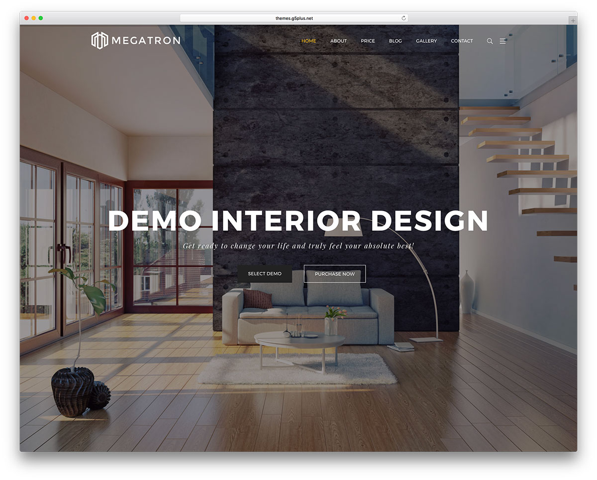 Megatron Is A Multi Purpose WordPress Theme With Specialized Demos.  Megatron Creative For Interior Design Will Be Your Perfect Choice!