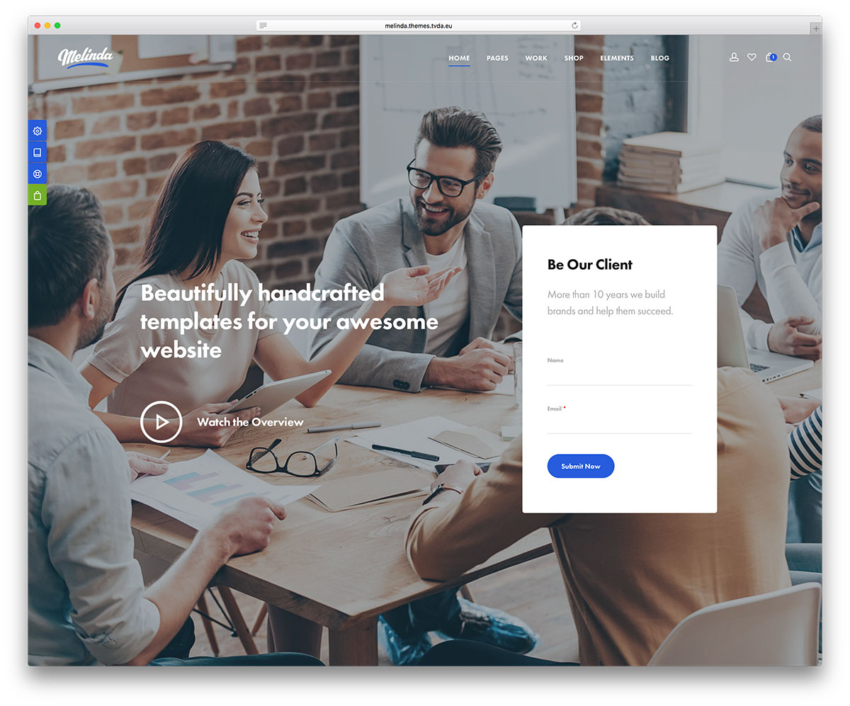 40 best wordpress corporate business themes of 2017 colorlib melinda tech startup website template