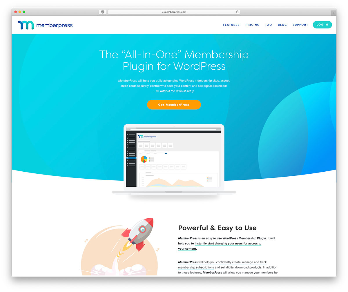 "Image shows the home page for the ""All-in-One"" Membership Plugin for WordPress."