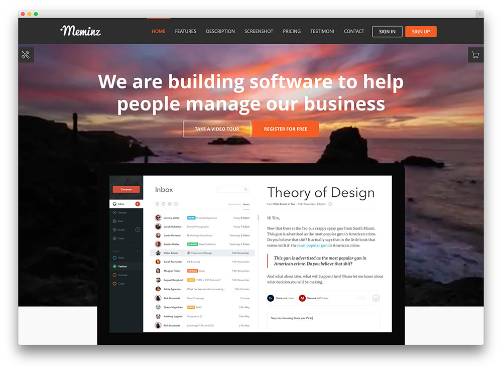 meminz software landing page theme
