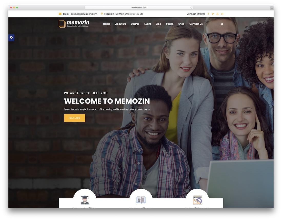 memozin school website template
