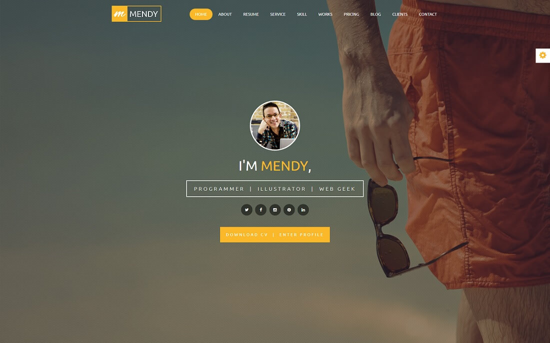 mendy HTML resume cv website template