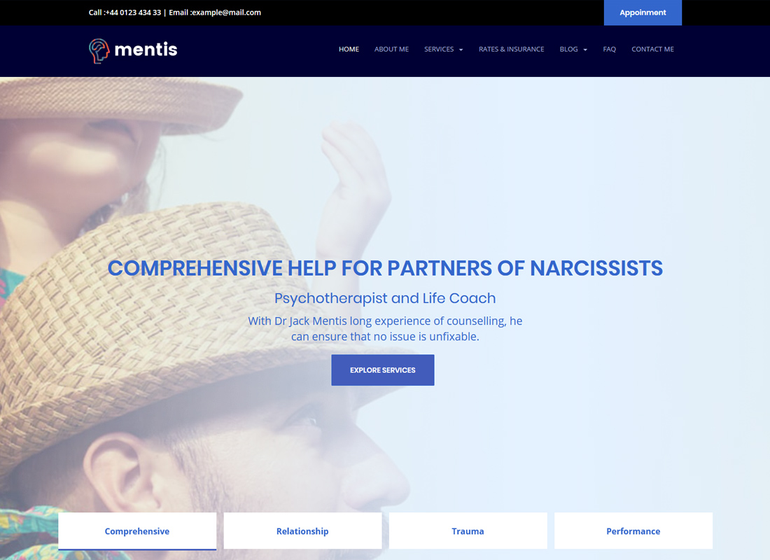 Mentis | WordPress Theme for Therapists, Psychiatrists & Life Coaches