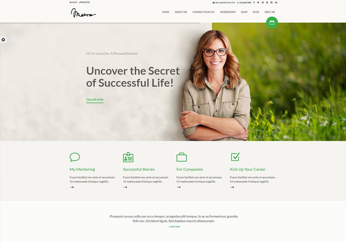 Mentor – Personal Development Coach WordPress Theme