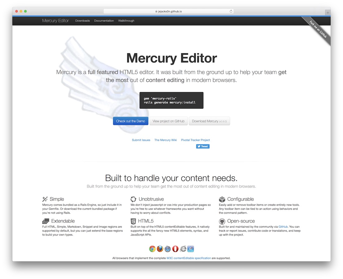 mercury html5 editor