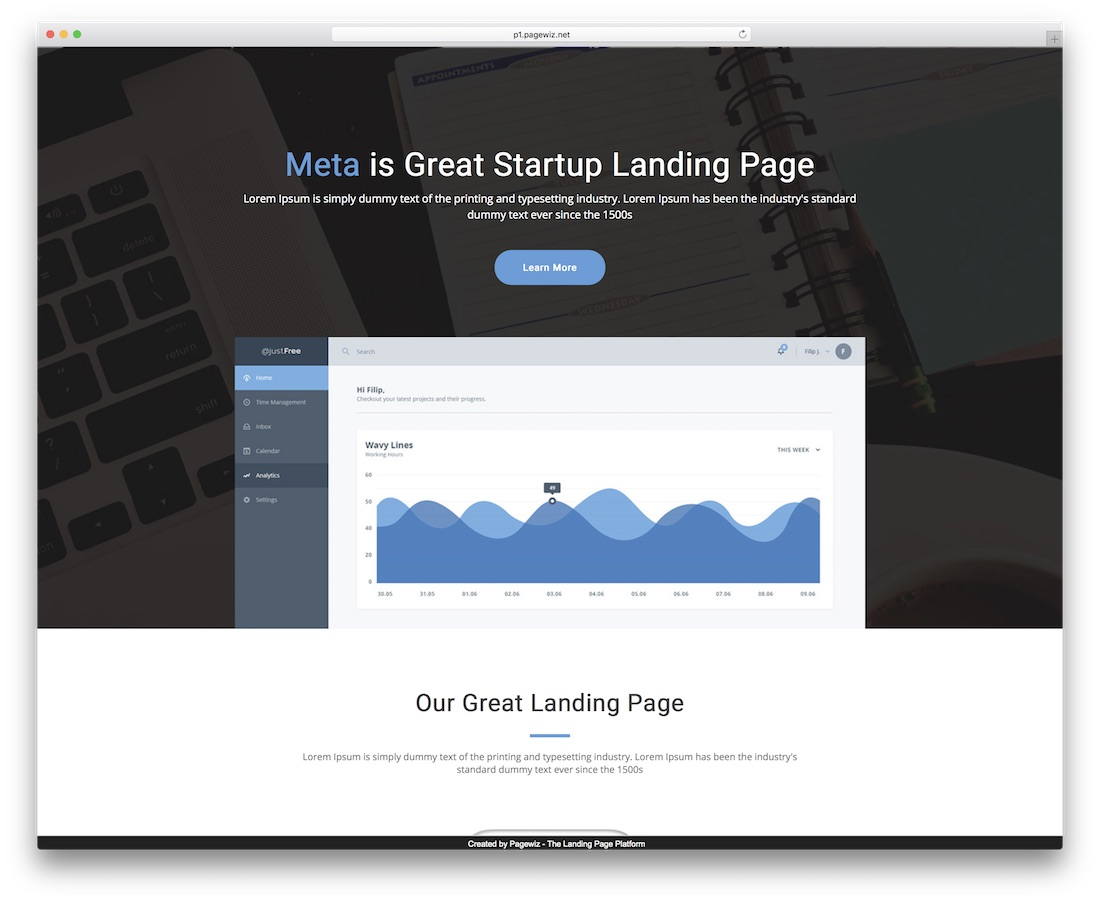 meta start-up pagewiz landing page template