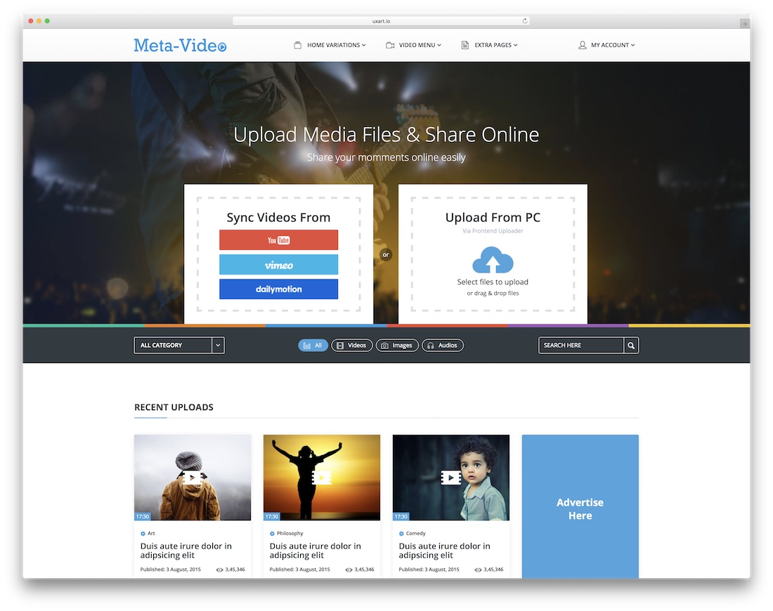 meta video bootstrap music template