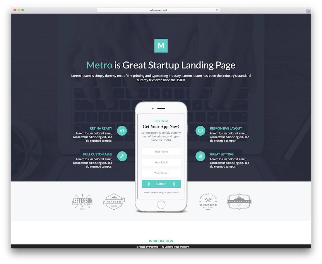 metro app pagewiz landing page template